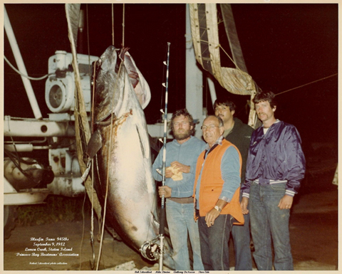 PBBA Members with a 945lb Tuna in 1982